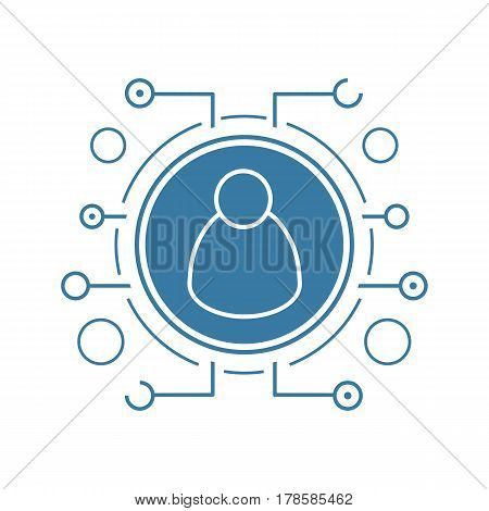 Admin user flat linear long shadow icon. Cyber security. Personal data. Vector line symbol