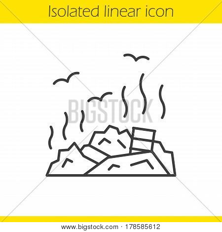 Rubbish dump linear icon. Garbage thin line illustration. Environment pollution. Trash contour symbol. Vector isolated outline drawing