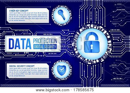 Digital technology concept of background with padlock key and shield. Circuit board background. Hi-tech electronic wires. Abstract information security. Modern safety digital background.