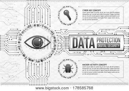 Digital technology concept of background with eye key and hacker bug. Circuit board background. Hi-tech electronic wires. Abstract information security. Modern safety digital background.