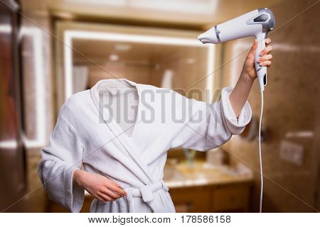 Woman with invisible head dry hair in bathroom
