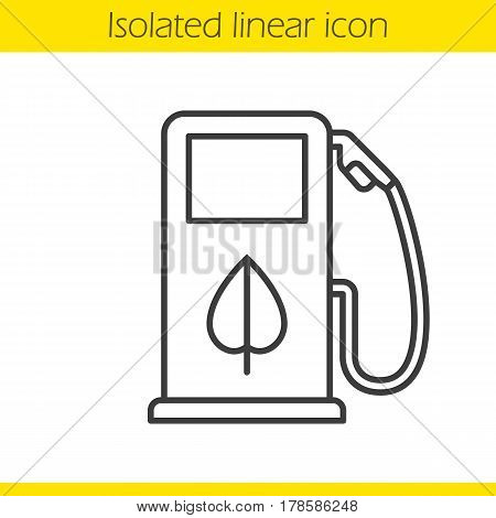 Eco fuel concept linear icon. Thin line illustration. Petrol station contour symbol. Vector isolated outline drawing
