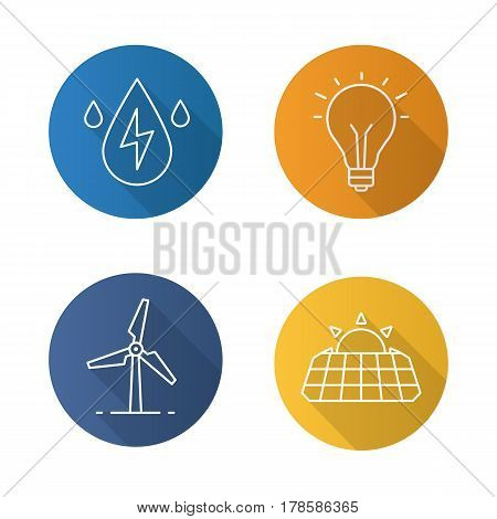Eco energy flat linear long shadow icons set. Solar panels, windmill, water energy, light bulb. Vector line illustration
