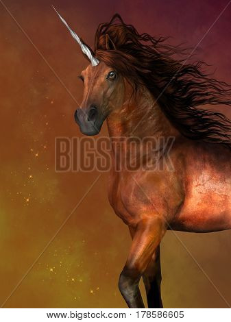 Dapple Bay Unicorn 3d illustration - A unicorn is a mythological creature that has the body of a horse and a magical horn on its forehead.