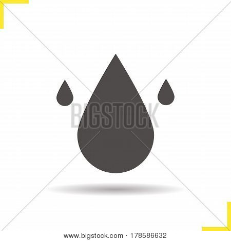 Water resources icon. Drop shadow silhouette symbol. Water drops. Vector isolated illustration