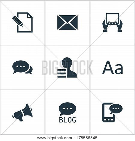 Vector Illustration Set Of Simple User Icons. Elements Document, Loudspeaker, Site And Other Synonyms Typography, Post And Tablet.