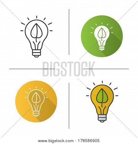 Eco energy concept icon. Flat design, linear and color styles. Lightbulb with plant leaf. Isolated vector illustrations