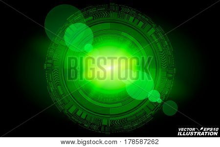 Abstract geometric form of particles of green color glowing in the dark. A bright flash of light. New technologies in design. Foreground