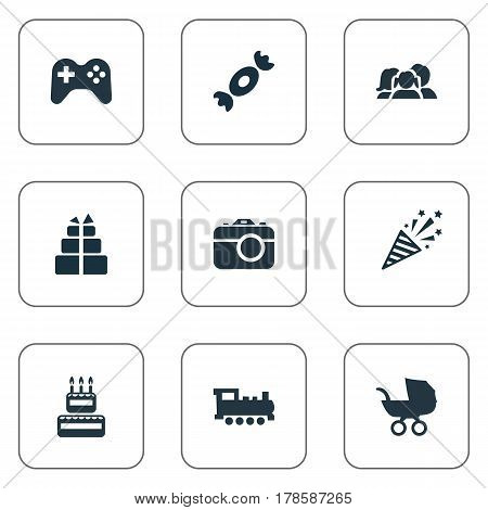 Vector Illustration Set Of Simple Celebration Icons. Elements Baby Carriage, Candy, Surprise Synonyms Present, Gift And Game.