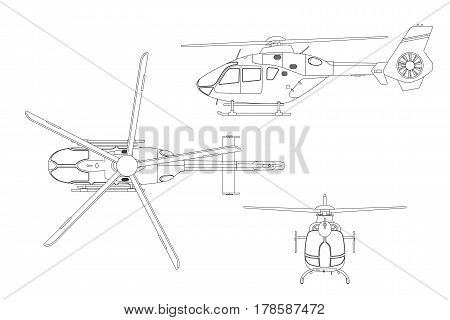 Outline drawing of helicopter on white background. Top side front view. Technical blueprint. Vector illustration