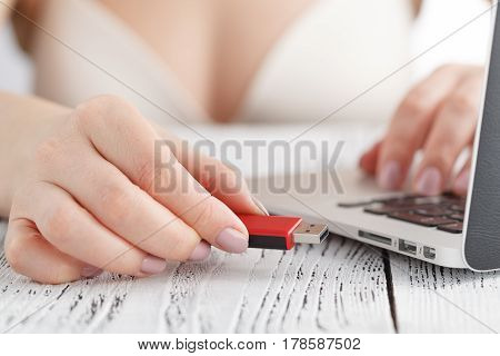 Surfing Web At Sunday Morning. Closeup View Of Hand  Women In Lingerie Using Computer