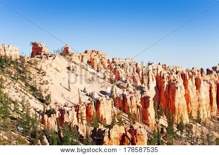 Beautiful scenery of geological formations at Bryce Canyon National Park in Utah