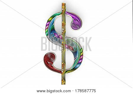 3D illustration of swirly paper with dollar sign isolated on white