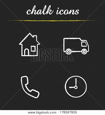 Delivery service chalk icons set. House, call now and time symbols, delivery van. Isolated vector chalkboard illustrations