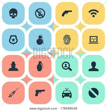 Vector Illustration Set Of Simple Fault Icons. Elements Explode, Police Car, Internet And Other Synonyms Cranium, Weapon And Bomb.