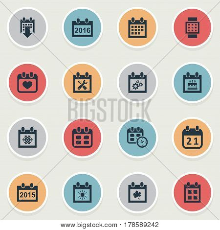 Vector Illustration Set Of Simple Time Icons. Elements Leaf, Special Day, Snowflake And Other Synonyms History, Special And Agenda.
