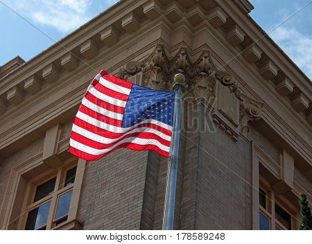 American Flag Flying at the Courthouse on Main Street