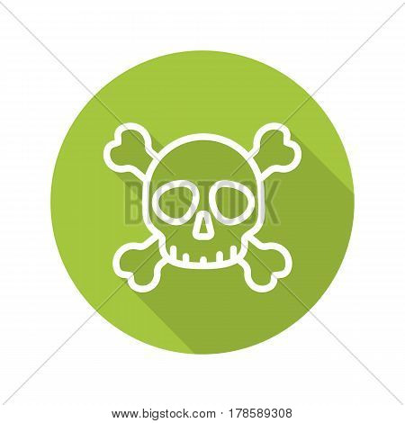 Skull with crossbones. Flat linear long shadow icon. Death and posion danger sign. Vector line symbol