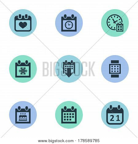 Vector Illustration Set Of Simple Time Icons. Elements Agenda, Deadline, Intelligent Hour And Other Synonyms History, Calendar And Deadline.