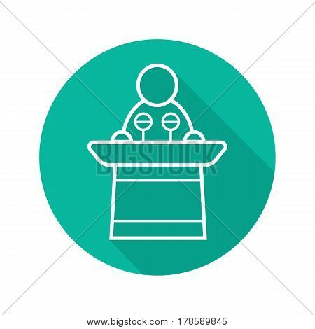 Politician flat linear long shadow icon. Orator speech. Speaker podium. Vector line symbol