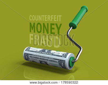 Roller Brush Makes Bank Notes. Business Concept. 3D Illustration