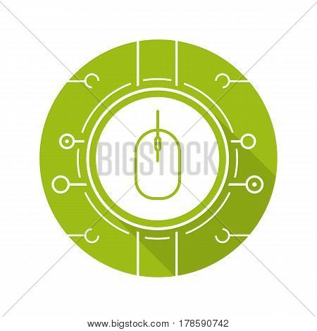 Network access flat design long shadow icon. Computer mouse in microchip pathways. Vector silhouette symbol