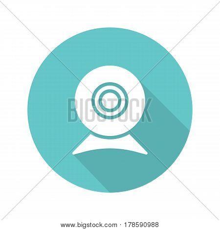 Webcam flat design long shadow icon. Web camera. Vector silhouette symbol