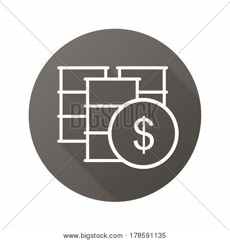 Oil barrels flat linear long shadow icon. Petrol trade. Oil market. Vector line symbol