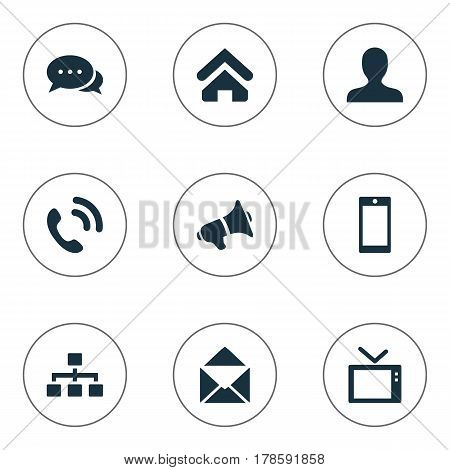 Vector Illustration Set Of Simple Transmission Icons. Elements Megaphone, Talking, Telly And Other Synonyms Dialogue, Telephone And User.