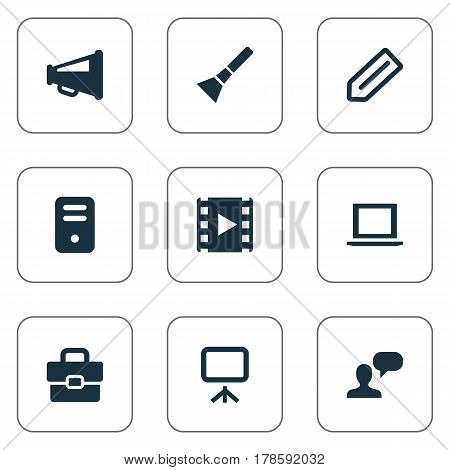 Vector Illustration Set Of Simple Web Icons. Elements Tag, Bullhorn, Movie And Other Synonyms Portfolio, Slideshow And Briefcase.