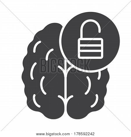 Brain resources revalation icon. Intellect potential silhouette symbol. Human brain with open lock. Negative space. Vector isolated illustration