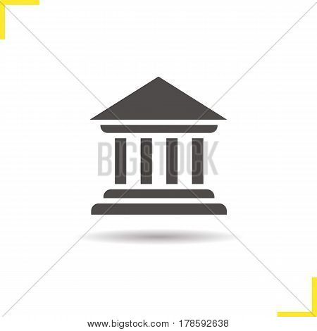 Courthouse icon. Drop shadow silhouette symbol. Bank building. Negative space. Vector isolated illustration