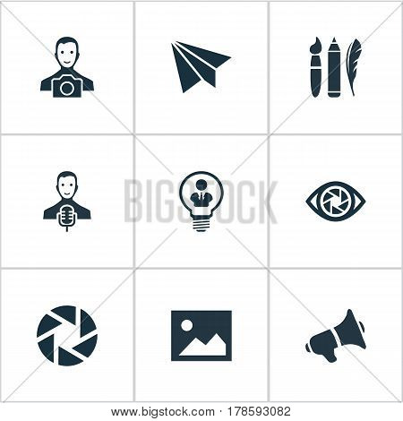 Vector Illustration Set Of Simple Creative Thinking Icons. Elements Performance, Bullhorn, Cameraman And Other Synonyms Singer, Digital And Young.