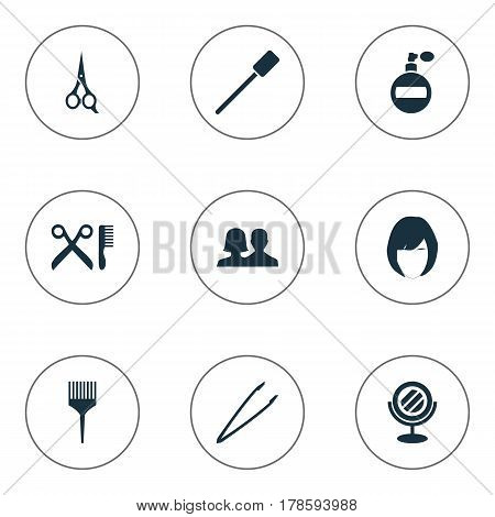 Vector Illustration Set Of Simple Cosmetics Icons. Elements Customers, Barber Tool, Barbershop And Other Synonyms Tweezers, Pincers And Perfume.