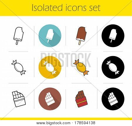 Sweets icons set. Flat design, linear, black and color styles. Ice cream, caramel candy, chocolate bar. Isolated vector illustrations