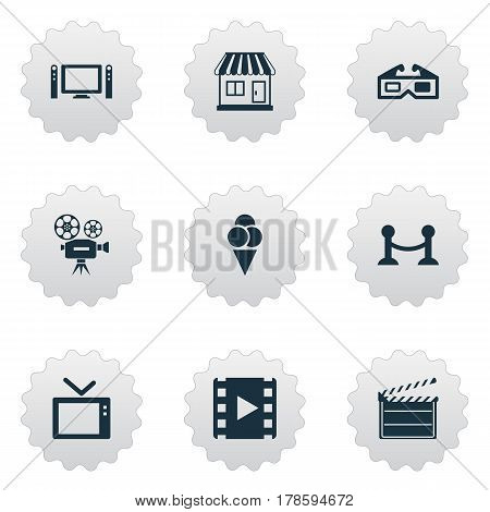 Vector Illustration Set Of Simple Cinema Icons. Elements Video Camera, 3D Glasses, Rope Barrier And Other Synonyms Tv, Board And Sundae.