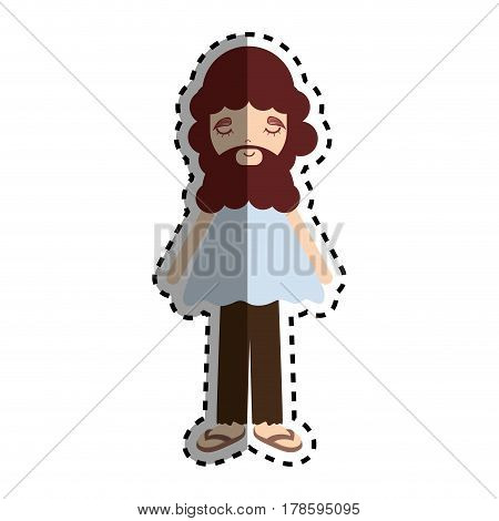 man with beard and casual cloth icon, vector illustration design