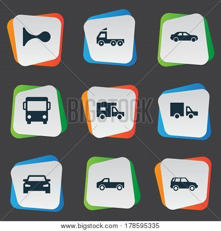 Vector Illustration Set Of Simple Transport Icons. Elements Van, Haulage, Camion And Other Synonyms Klaxon, Vehicle And Beep.