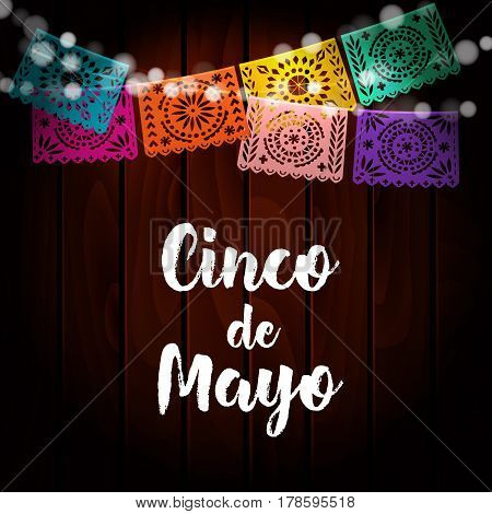 Mexican Cinco de Mayo greeting card, invitation. Party decoration, string of lights, handmade cut paper flags. Old wooden background, vector illustration.