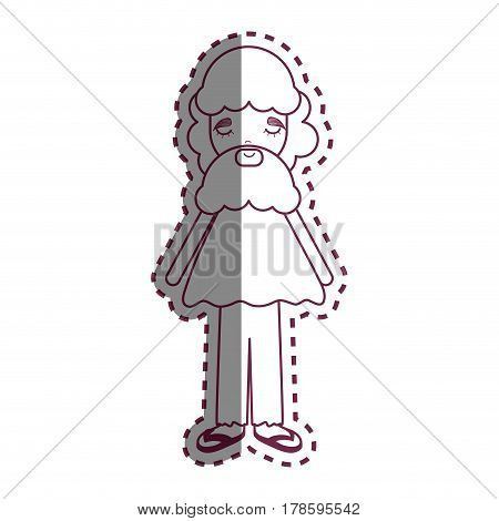 contour man with beard and casual cloth icon, vector illustration design