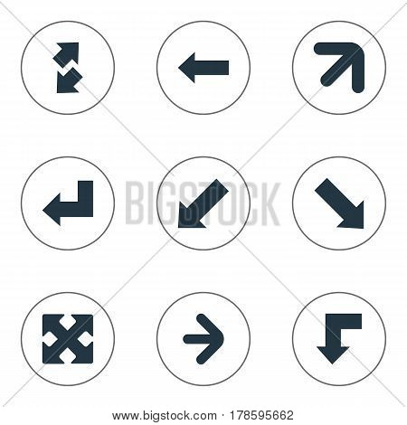 Vector Illustration Set Of Simple Arrows Icons. Elements Left Direction, Reduction, Down Right And Other Synonyms Down Left Pointing, Left And Direction.