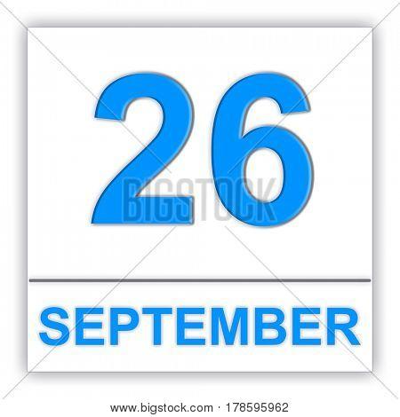 September 26. Day on the calendar. 3D illustration