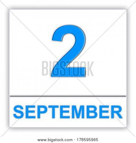 September 2. Day on the calendar. 3D illustration