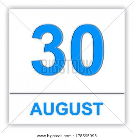 August 30. Day on the calendar. 3D illustration