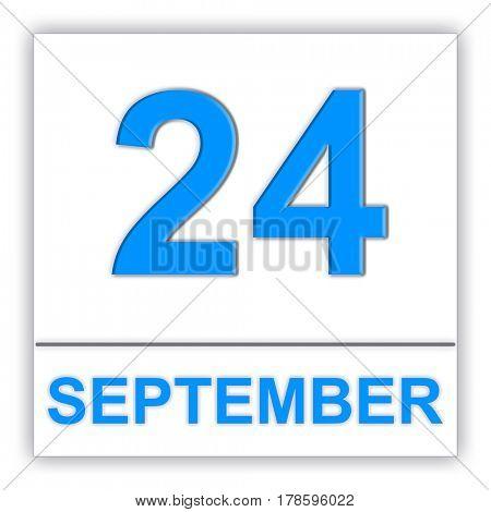 September 24. Day on the calendar. 3D illustration