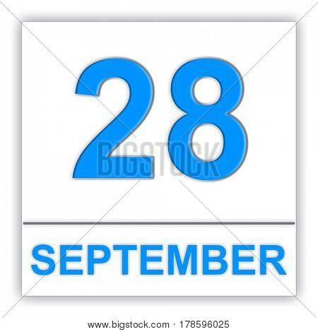 September 28. Day on the calendar. 3D illustration