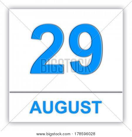 August 29. Day on the calendar. 3D illustration