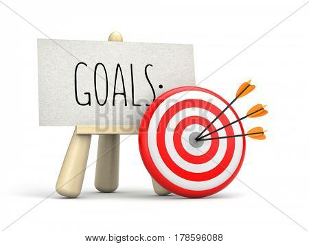 Wooden easel with words - GOALS and target with arrow. 3d illustration