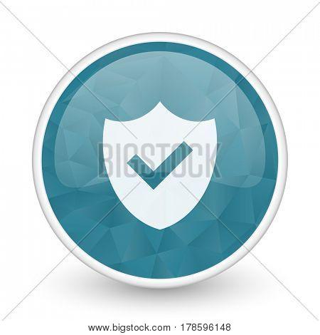 Shield brillant crystal design round blue web icon.