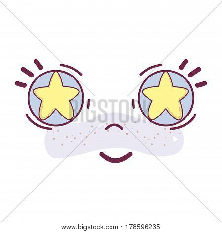 happy face kawaii with stars inside the eyes, vector illustration